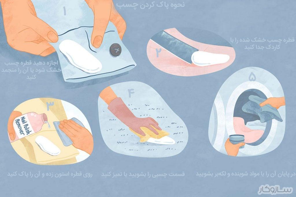 چگونه چسب را از روی لباس پاک کنیم