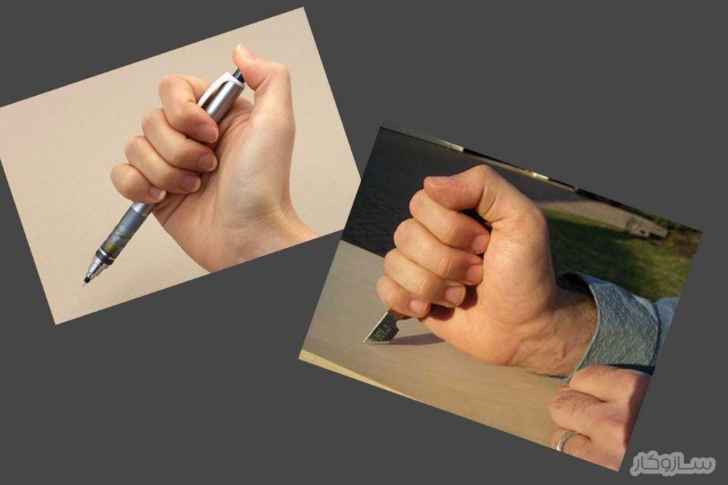 طرز گرفتن چاقوی حکاکی در دست